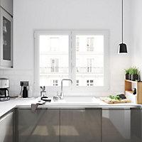 Fenêtre PVC 2 vantaux oscillo-battant GoodHome blanc - l.80 x h.115 cm