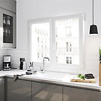 Fenêtre PVC 2 vantaux oscillo-battant GoodHome blanc - l.90 x h.135 cm
