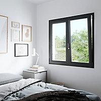 Fenêtre PVC 2 vantaux oscillo-battant GoodHome gris - l.100 x h.125 cm