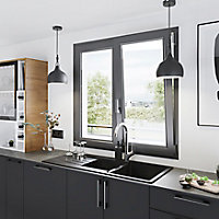 Fenêtre PVC 2 vantaux oscillo-battant GoodHome gris - l.100 x h.95 cm