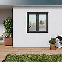 Fenêtre PVC 2 vantaux oscillo-battant GoodHome gris - l.120 x h.105 cm