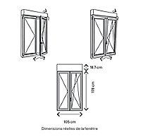 Fenêtre PVC 2 vantaux oscillo-battant + volet roulant électrique GoodHome blanc - 100 x h.175 cm