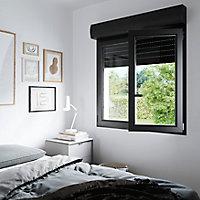 Fenêtre PVC 2 vantaux oscillo-battant + volet roulant électrique GoodHome gris - l.100 x h.115 cm