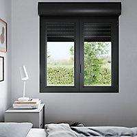 Fenêtre PVC 2 vantaux oscillo-battant + volet roulant électrique GoodHome gris - l.100 x h.125 cm