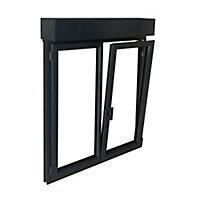 Fenêtre PVC 2 vantaux oscillo-battant + volet roulant électrique GoodHome gris - l.120 x h.115 cm
