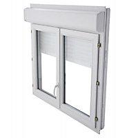 Fenêtre PVC 2 vantaux + volet roulant motorisé Grosfillex blanc - l.100 x h.125 cm, tirant droit