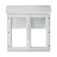 Fenêtre PVC 2 vantaux + volet roulant motorisé Grosfillex blanc - l.100 x h.95 cm, tirant droit