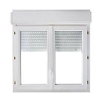 Fenêtre PVC 2 vantaux + volet roulant motorisé Grosfillex blanc - l.120 x h.115 cm, tirant droit