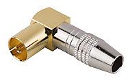 Fiche TV Femelle ø9.52 mm coudé à câbler, Or