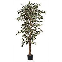 Ficus vert panache artificiel en pot plastique ø90 x h.180 cm