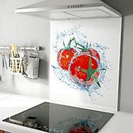 Fond de hotte en acier décor tomate 60 x 70 cm