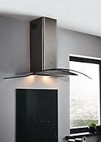 Fond de hotte en verre GoodHome Nashi anthracite l. 60 cm x H. 80 cm x Ep. 5 mm