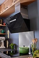 Fond de hotte GoodHome Kasei gris effet brossé l. 60 cm x H. 80 cm x Ep. 10 mm