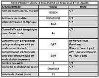 Four multifonctions nettoyage ecocelan Bosch HBG655NS1 71L noir