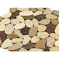Galets coloris beige/prune/cappuccino 30 x 30 cm