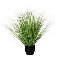 Gras vert artificiel ø50 x h.68 cm en pot plastique ø14,5 cm