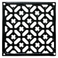 Grille fonte carrée noire 150 x 150 mm