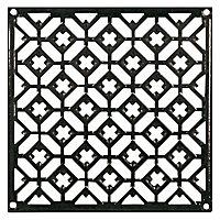 Grille fonte carrée noire 200 x 200 mm