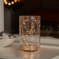Guirlande lumineuse fil cuivre 100 LED blanc chaud
