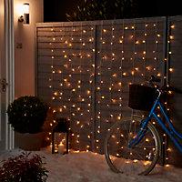 Guirlande lumineuse Frange câble transparent 1000 LED blanc chaud