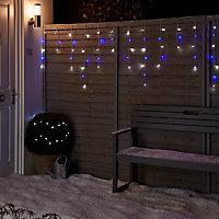 Guirlande lumineuse Rideaux câble transparent 300 LED bleu