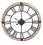 Horloge bois et métal ⌀ 70 cm