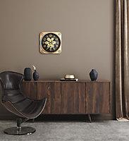 Horloge carrée noire et dorée 35 x 35 cm
