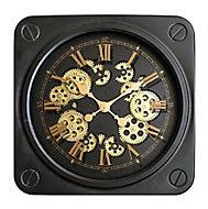 Horloge carrée noire et dorée 45 x 45 cm
