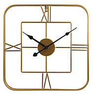 Horloge dorée carrée 38 x 38 cm