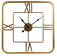 Horloge dorée carrée 48 x 48 cm