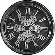 Horloge noire et argentée Ø 34 cm