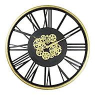 Horloge noire et dorée Ø 80 cm