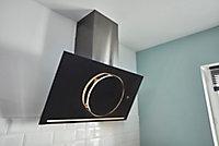 Hotte inclinée connectée en verre GoodHome GHAGRO90, 90cm