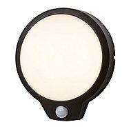 Hublot étanche LED intégrée à détection Diall Finley noir Ø19 x P.4,6 cm
