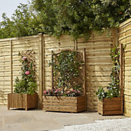 Jardinière avec treillis bois Blooma Bopha marron 90 x 35 x h.140 cm
