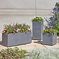 Jardinière plastique Blooma Volcania gris foncé 100 x 38,7 x h. 43 cm