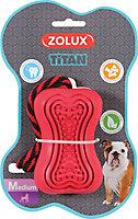 Jouet pour chien caoutchouc avec corde Titan M rouge