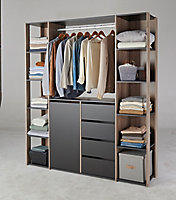 Kit dressing 2 colonnes - 1 porte - 4 tiroirs - chêne gris - H. 197,5 x L. 175,5 x P. 40,5 cm