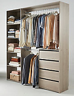 Kit Dressing avec bloc 4 tiroirs décor chêne grisé Karisma l. 181,5 x P. 39,95 x H. 200,4 cm