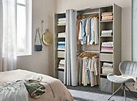 Kit dressing avec rideau Komet effet chêne grisé 200 x 180 x 50 cm