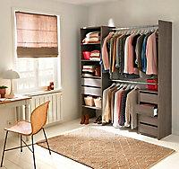 Kit dressing Blokty décor chêne grisé L. 181 x P. 43,9 x H. 195 cm
