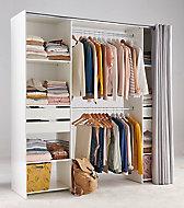 Kit dressing décor blanc avec rideau l. 200 x H. 200,4 x P. 48,25 cm