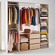 Kit Dressing décor chêne et blanc l. 195,5 x P. 40 x H. 200 cm