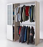 Kit dressing Scandi décor chêne clair + porte Atelier blanche avec verre dépoli l. 177,6 x P. 50,5 x H. 203 cm