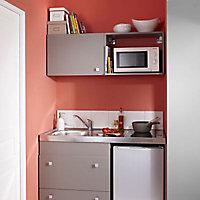 Kitchenette Silver grise, casserolier + plan de travail + évier + frigo + plaque vitrocéramique