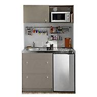 Kitchenette Silver taupe, casserollier + plan de travail + évier + frigo + plaque électrique