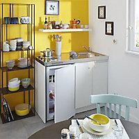 Kitchenette Simply blanche, caisson + plan de travail + évier + frigo + plaque électrique