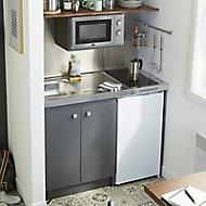 Kitchenette Simply grise, caisson + plan de travail + évier + frigo + plaque électrique