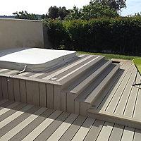 Lame terrasse composite Greendeck R gris L.260 x l.14,6 cm