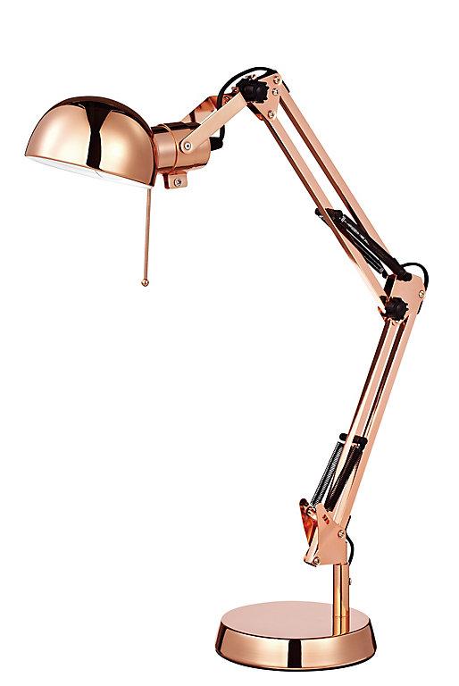 lampe de bureau bakossi e14 ip20 cuivre  castorama